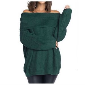 Sweaters - Hunter green cowl neck sweater